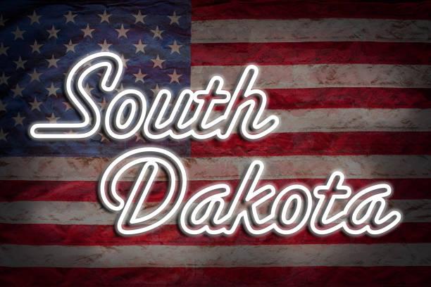 South Dakota South Dakota Sign with US flag. oregon us state stock pictures, royalty-free photos & images