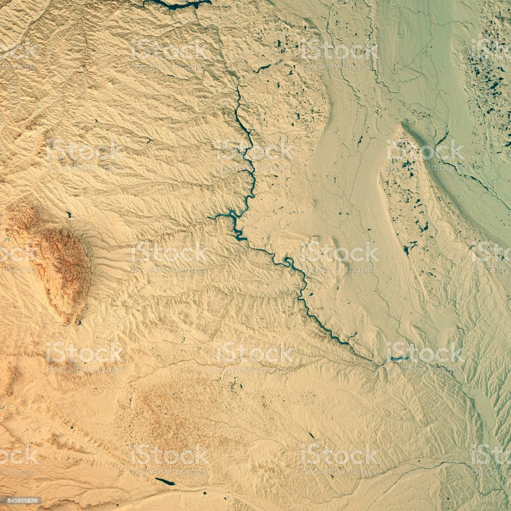 South Dakota State USA 3D Render Topographic Map stock photo