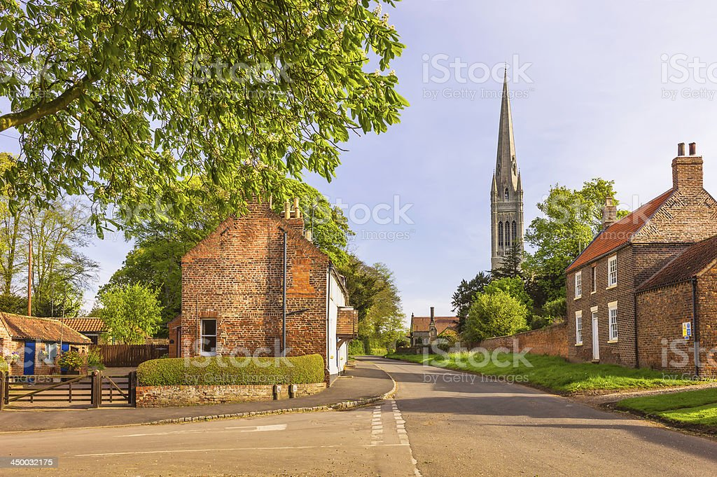 South Dalton village and St Mary's Church, Yorkshire, UK. stock photo