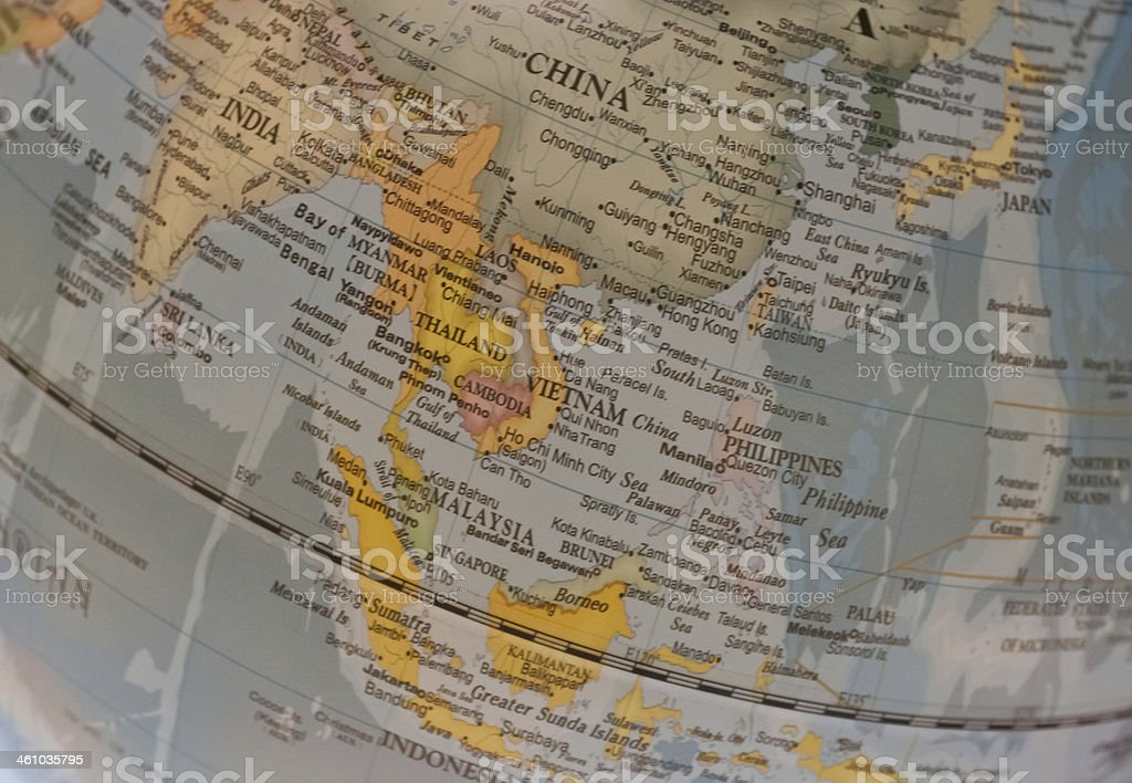 South East Asia countries map on a globe stock photo