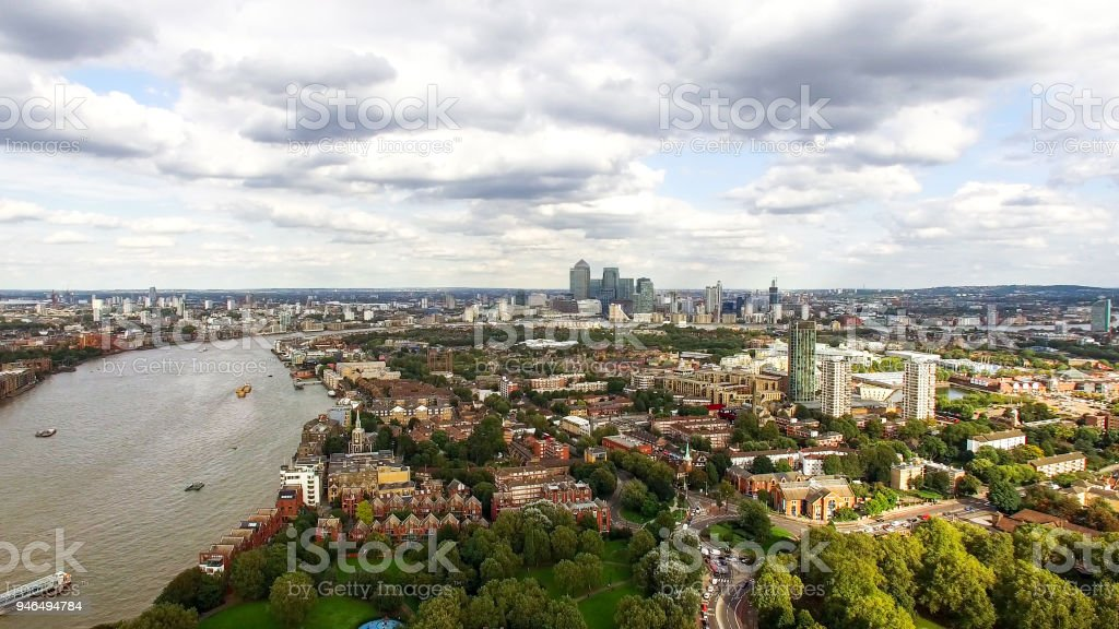 South East London Aerial City View Neighborhood stock photo