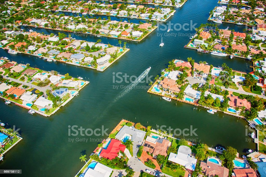 South Florida Coastal Neighborhood Aerial stock photo