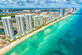 Aerial view of the hotels along the coast South Florida between Fort Lauderdale and Miami.