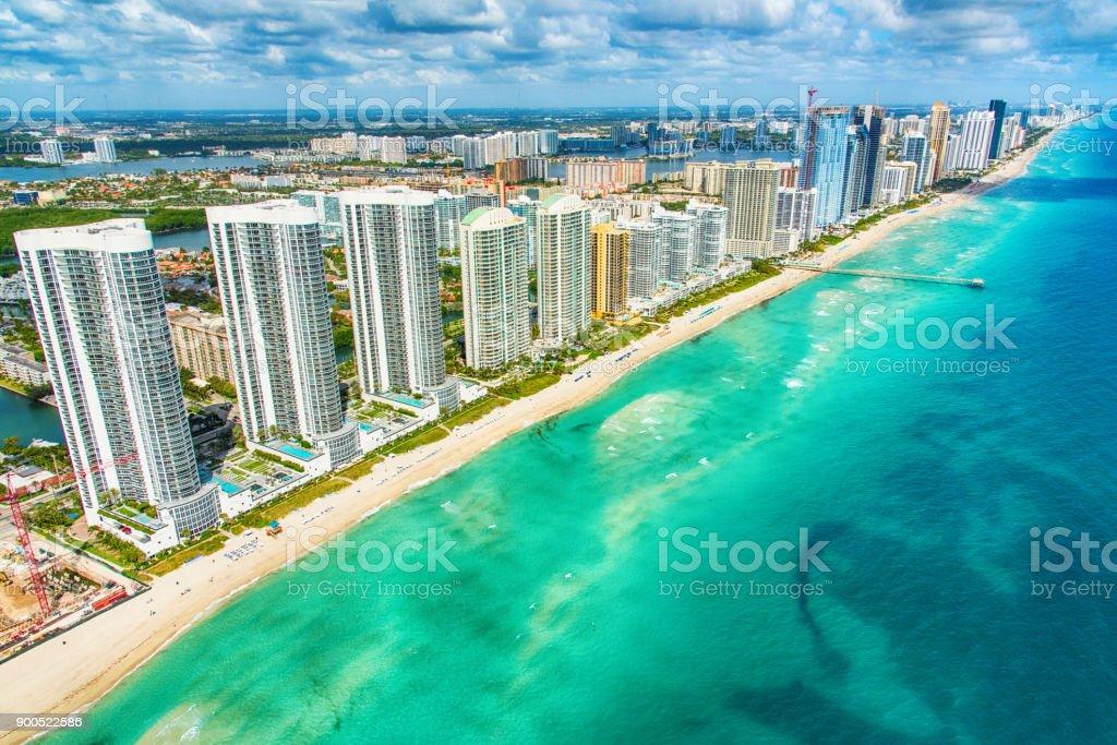 South Florida Coastline Aerial stock photo