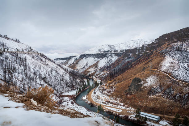 South Fork of the Boise River Canyon in the winter with snow.