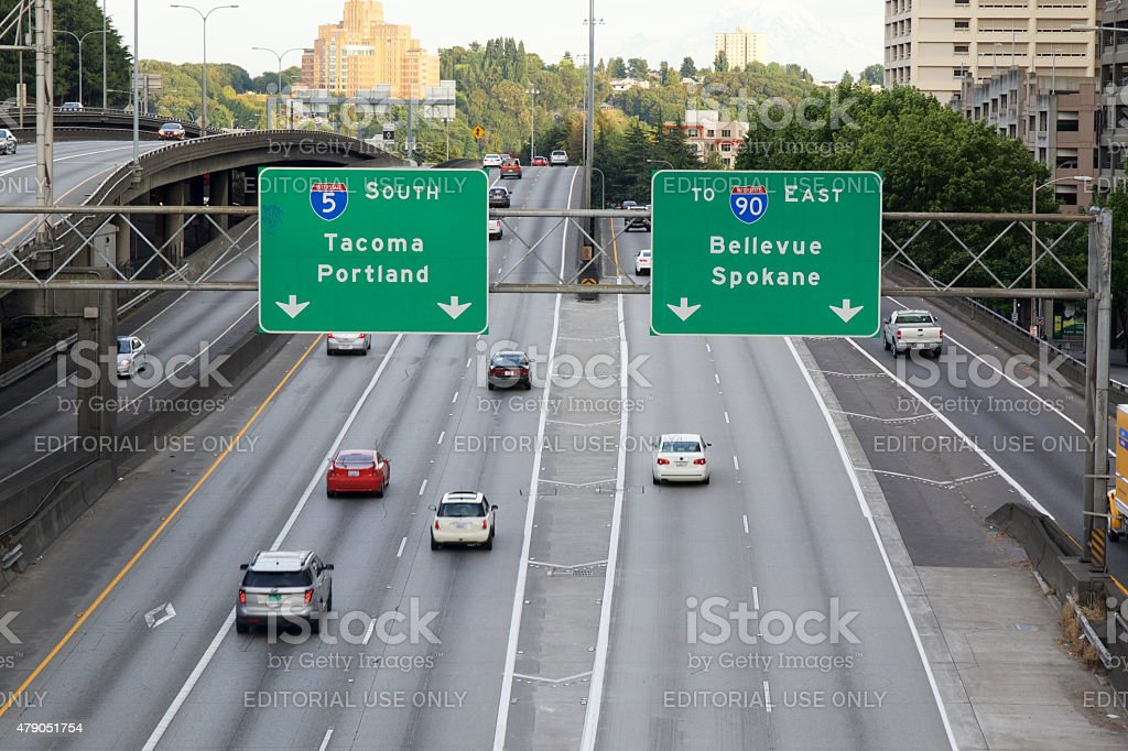 I5 South Freeway in Seattle stock photo