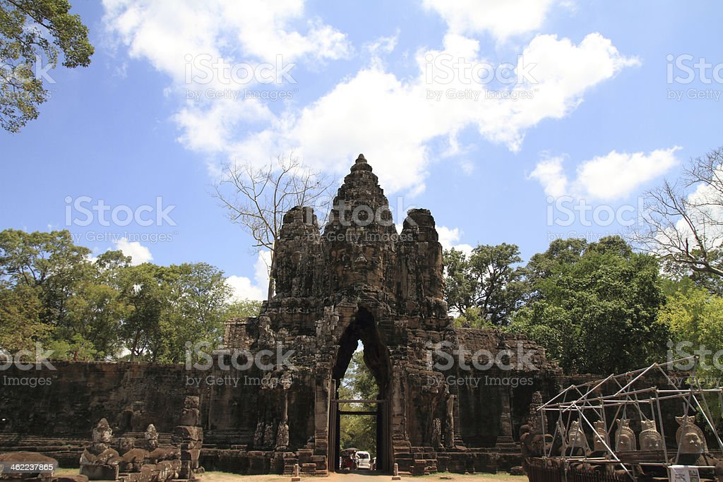 South gate of Angkor Thom in Cambodia stock photo
