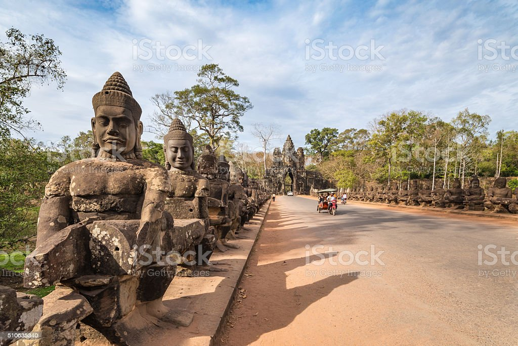 South gate of Angkor Thom , Siem Reap , Cambodia stock photo