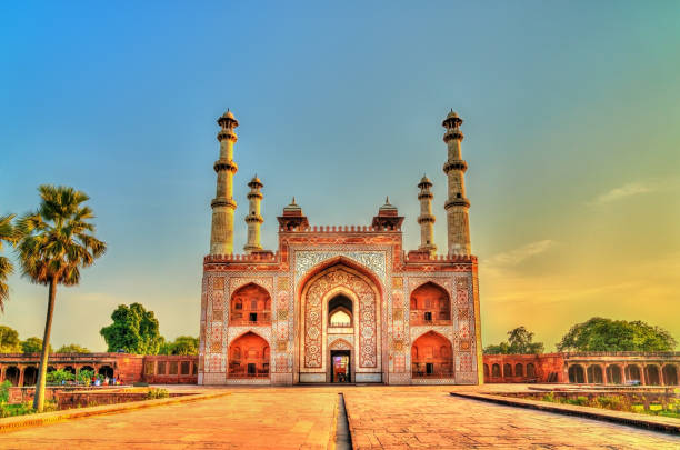 South Gate of Sikandra Fort in Agra - Uttar Pradesh, India South Gate of Sikandra Fort in Agra - Uttar Pradesh State of India agra stock pictures, royalty-free photos & images
