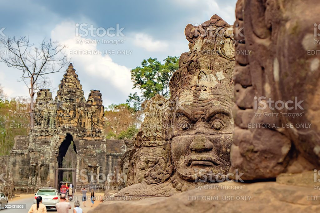 South gate to Angkor Thom, Cambodia stock photo