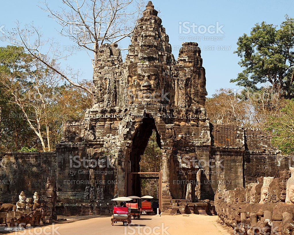 South gate to Angkor Thom stock photo