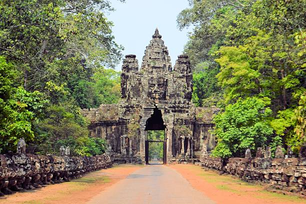 South gate to the ancient city of Angkor Thom in Cambodia stock photo