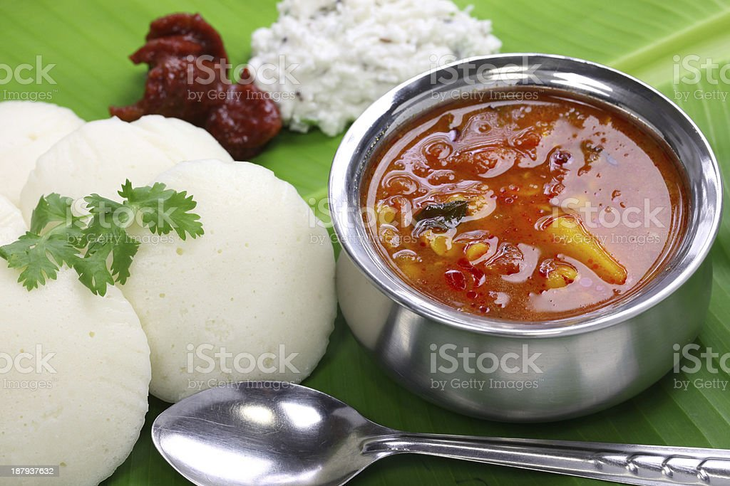 south indian breakfast on banana leaf stock photo