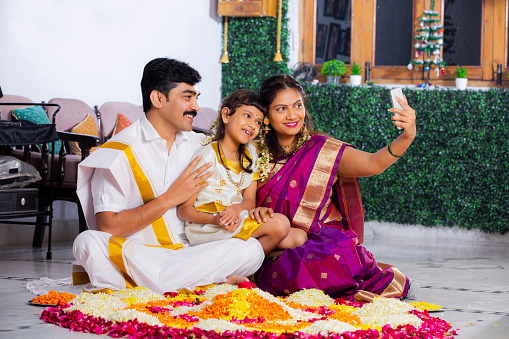 South Indian Young Family with classic look stock photo
