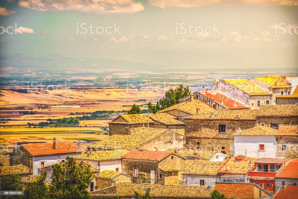 south italy village vintage look italian rooftop town stock photo