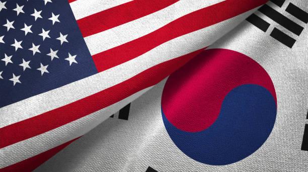 韓国と米国 2 つのフラグ一緒に realations 繊維布の生地テクスチャ - 韓国 ストックフォトと画像