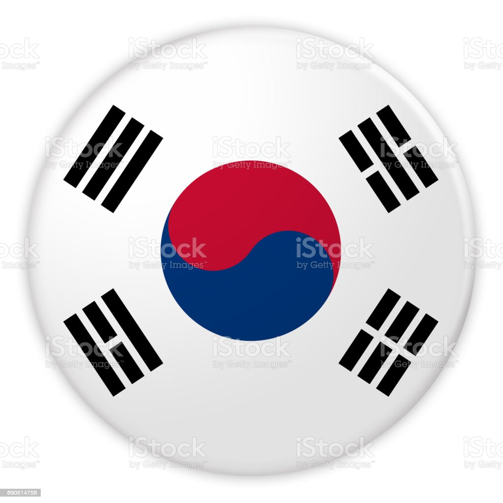 South Korea Flag Button, News Concept Badge, 3d illustration on white background stock photo