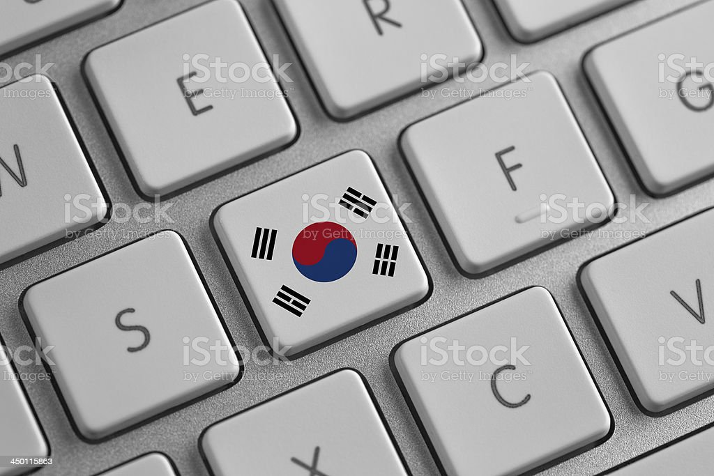 South Korea flag on a laptop stock photo
