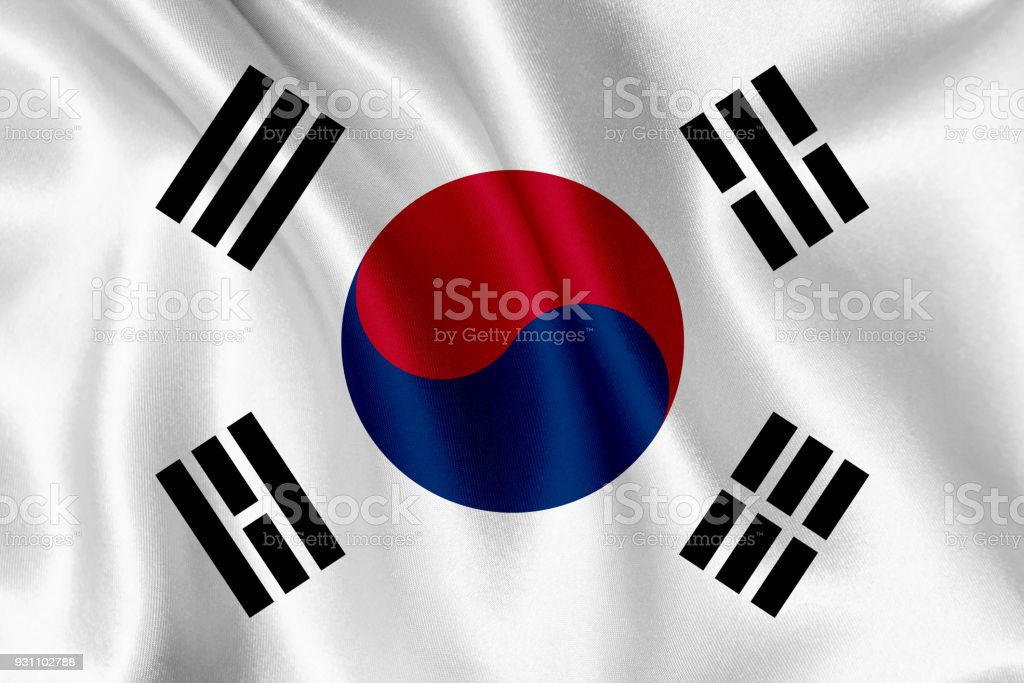South Korea flag waving background stock photo