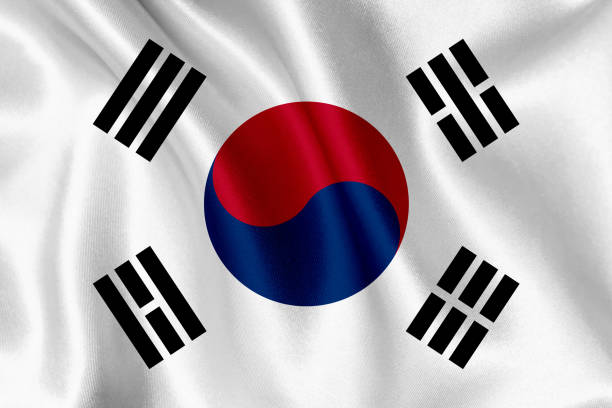 South Korea flag waving background stock photo