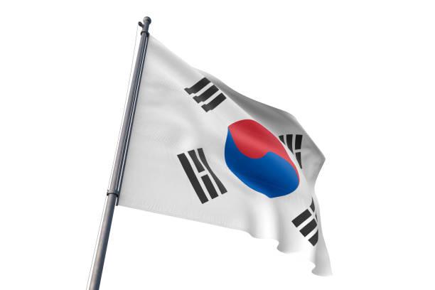 韓国旗振って分離ホワイト バック グラウンド - 韓国 ストックフォトと画像