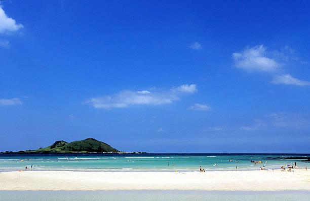 south korea, jeju island, north coast, hyeop-jae beach. - jeju island stock photos and pictures