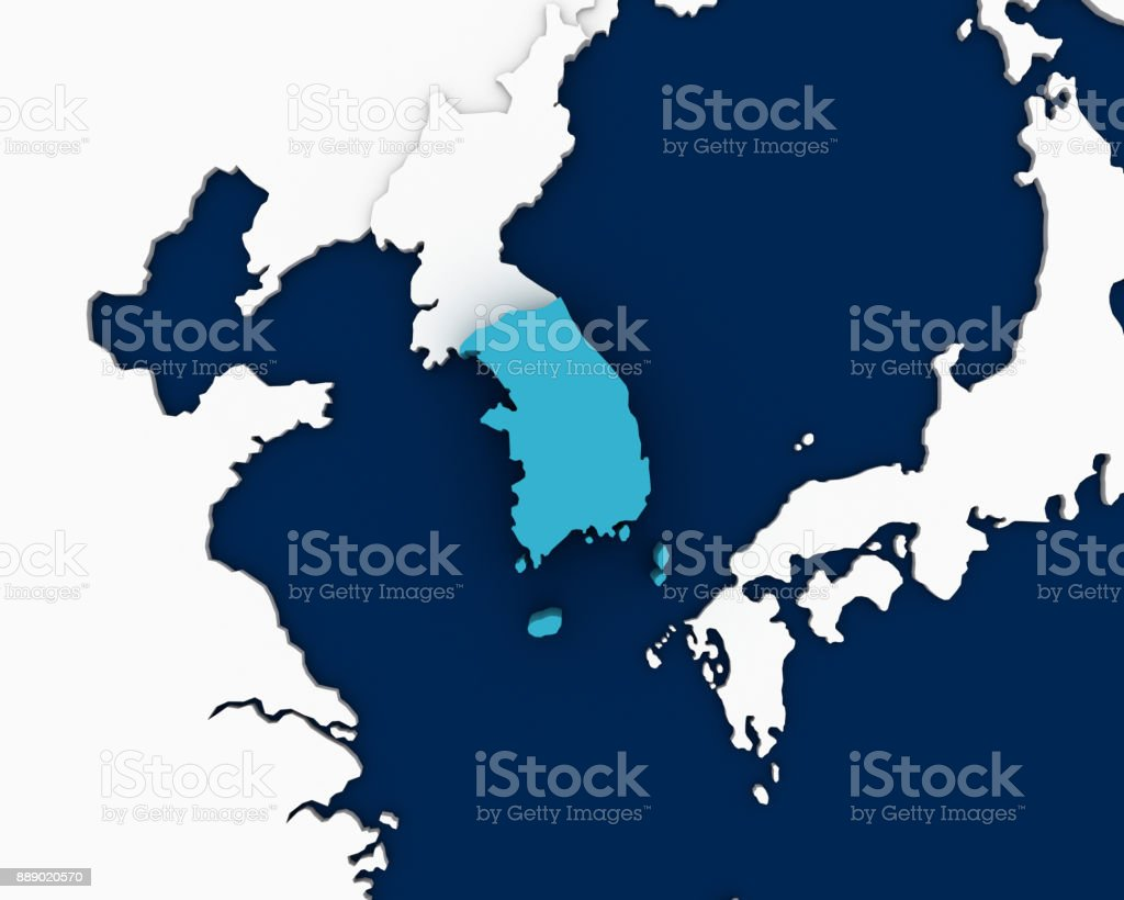South Korea Map 3d Rendering Stock Photo More Pictures Of Asia