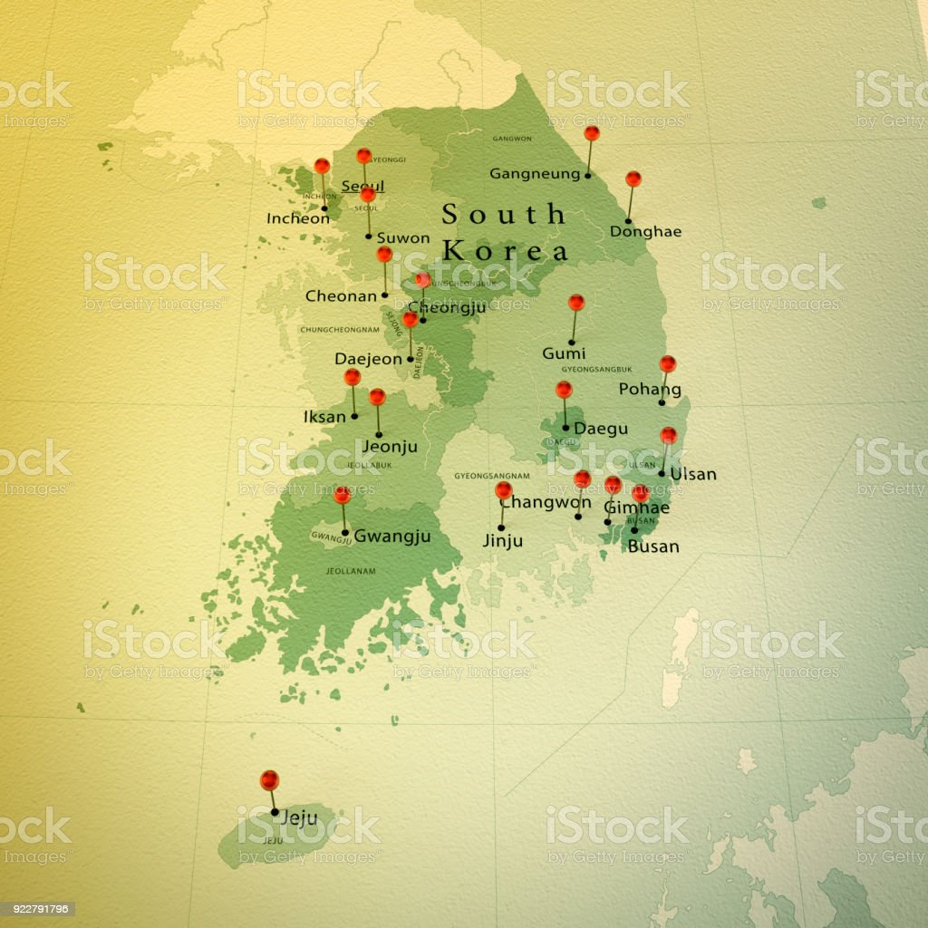 South Korea Map Square Cities Straight Pin Vintage Stock Photo ...