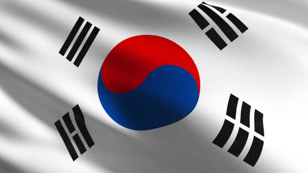 韓国の国旗は、孤立した風に吹く。公式愛国抽象デザイン。図 3 3d レンダリング記号を振る。 - 韓国 ストックフォトと画像