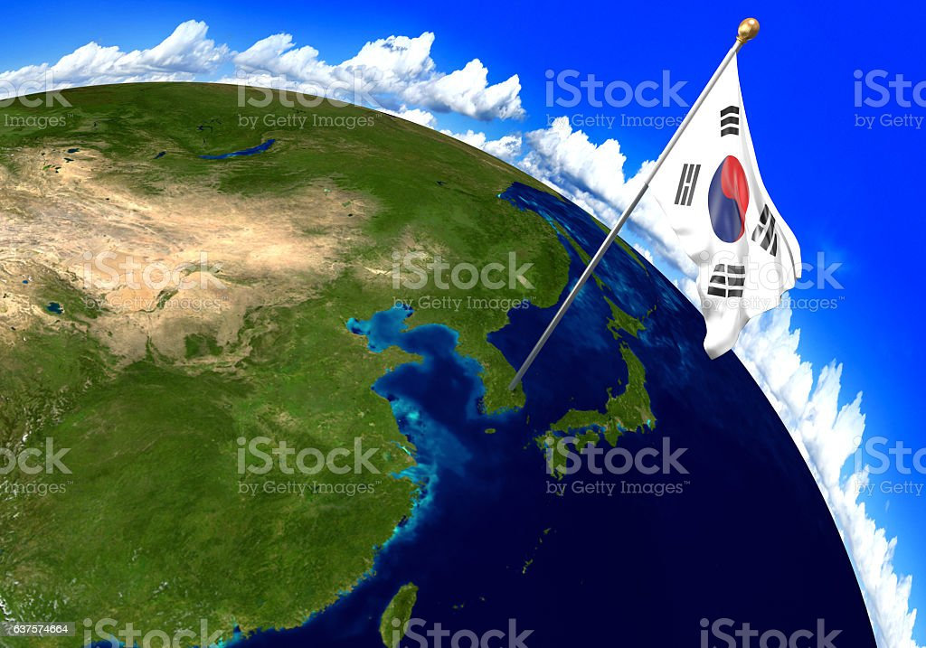 Picture of: South Korea National Flag Marking Country Location On World Map Stock Photo Download Image Now Istock
