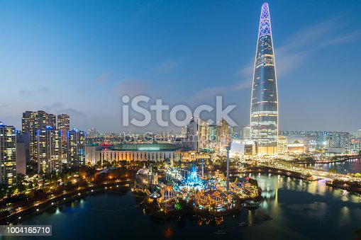 South Korea skyline of Seoul at night, The best view of South Korea with Lotte world mall at Jamsil in Seoul.