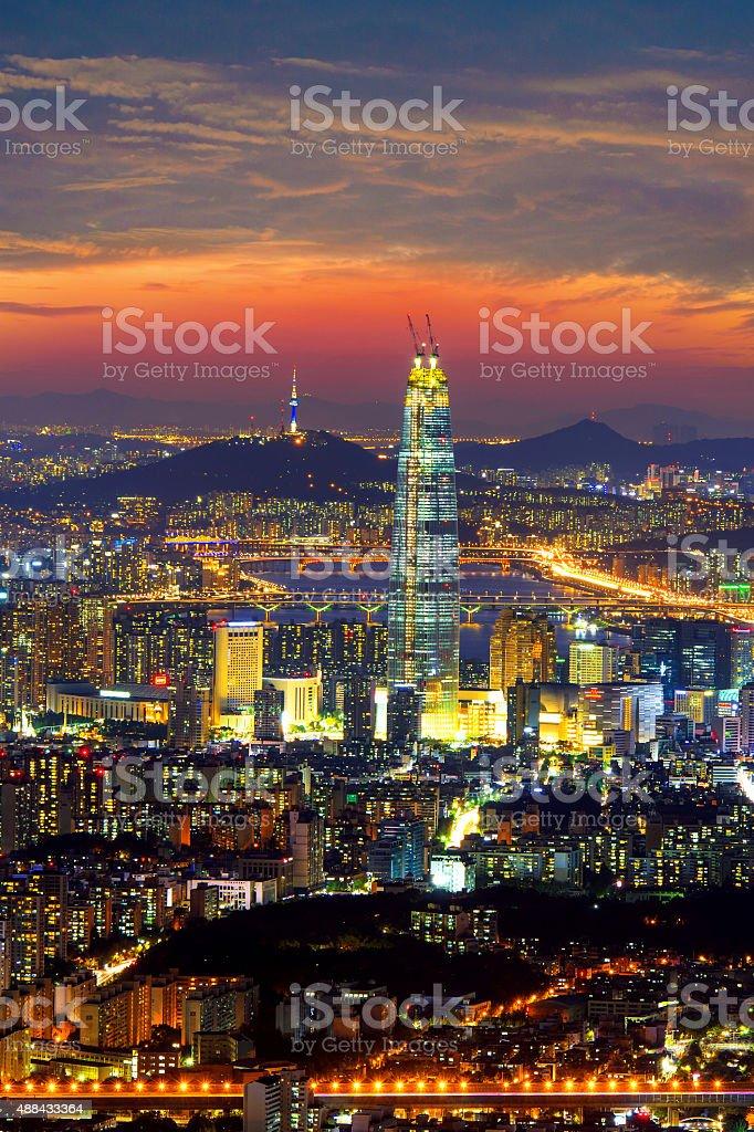 South Korea skyline of Seoul, Namhansanseong. stock photo