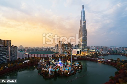 istock South Korea skyline of Seoul, The best view of South Korea with Lotte world mall at Jamsil in Seoul. 907960294