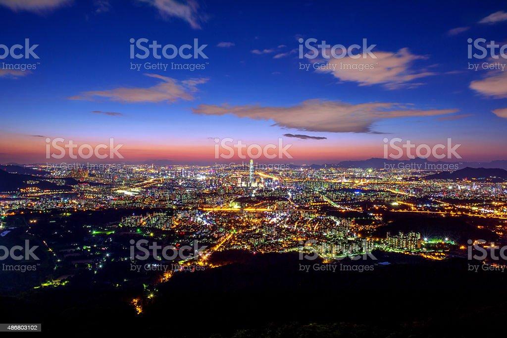 South Korea skyline of Seoul,South Korea. stock photo