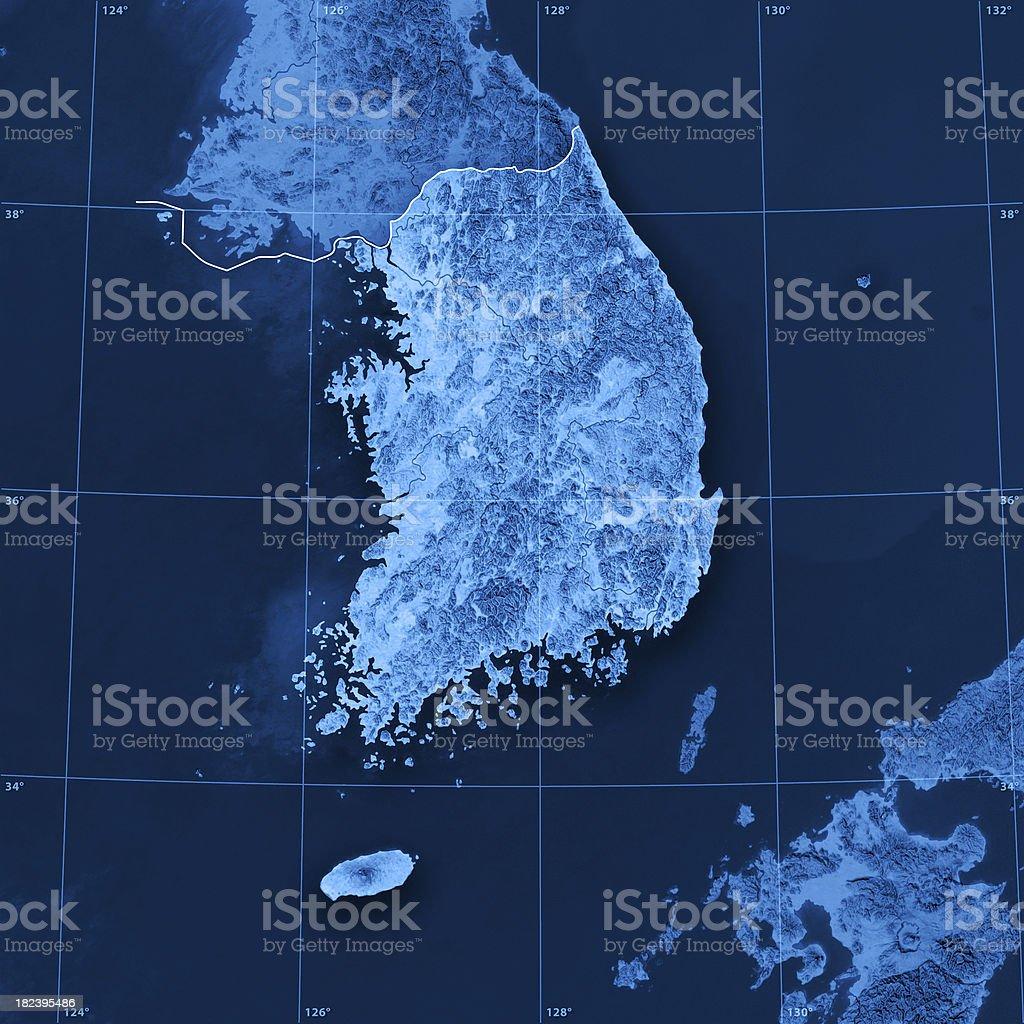 South Korea Topographic Map royalty-free stock photo