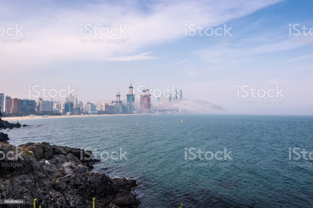 South Korean coastal city of Busan landscape stock photo