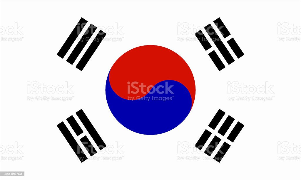 South Korean flag background on white stock photo