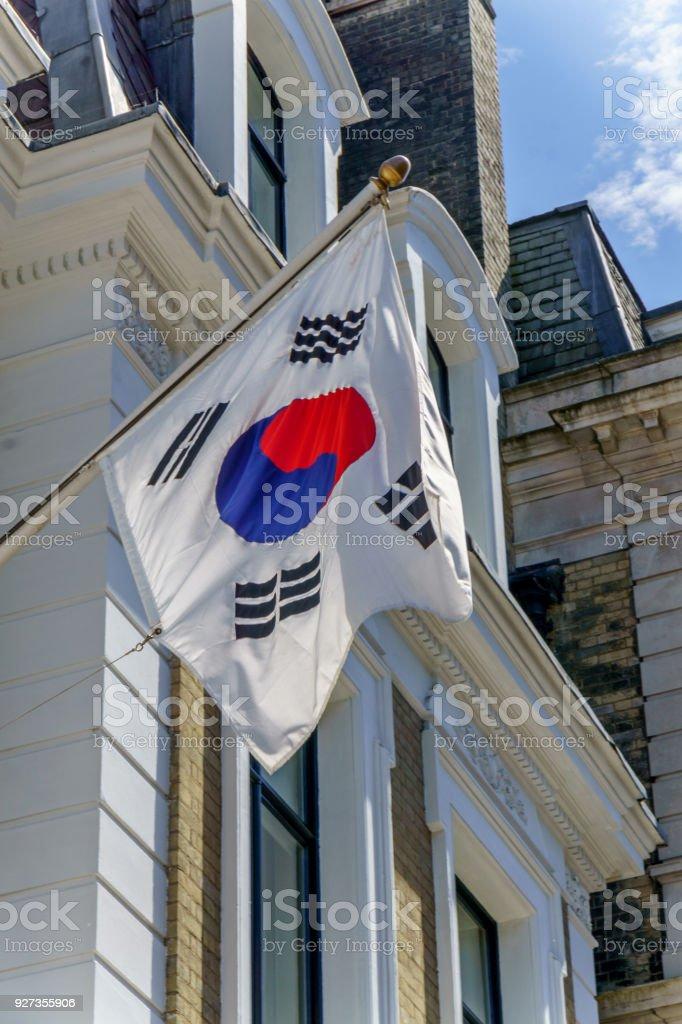 South Korean flag on London building exterior South Korean flag on London building exterior Building Exterior Stock Photo
