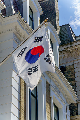 South Korean Flag On London Building Exterior Stock Photo - Download Image Now