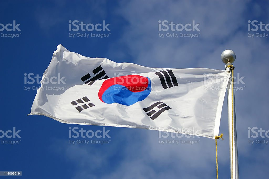 south korean flag stock photo