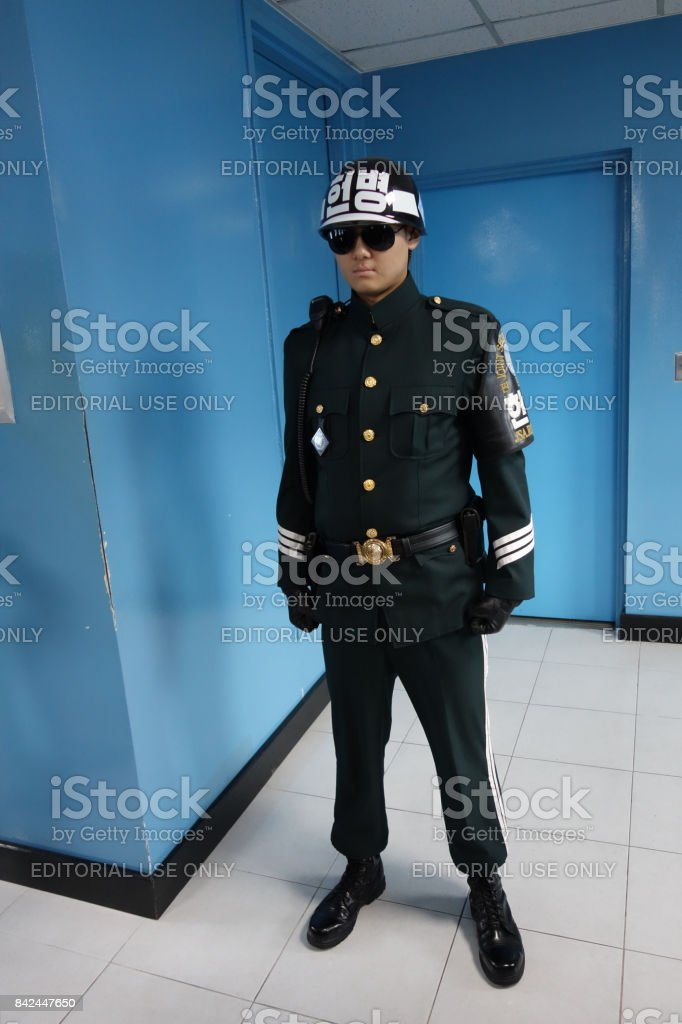 South Korean Soldier at the joint security area stock photo
