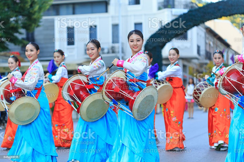 South Korean traditional musicians participating in festival's parade stock photo