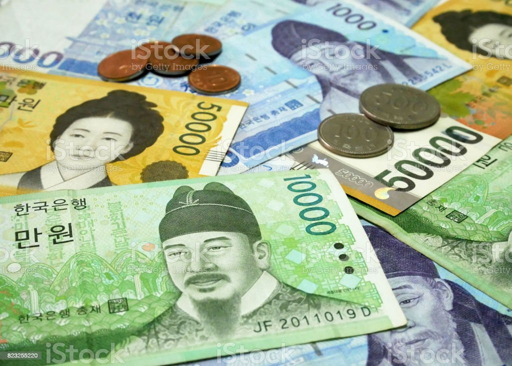 South Korean won currency stock photo