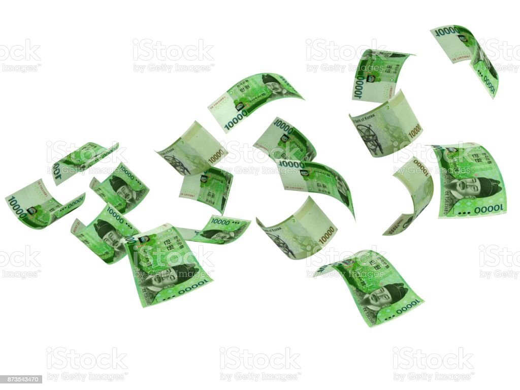 South Korean won falling money stock photo
