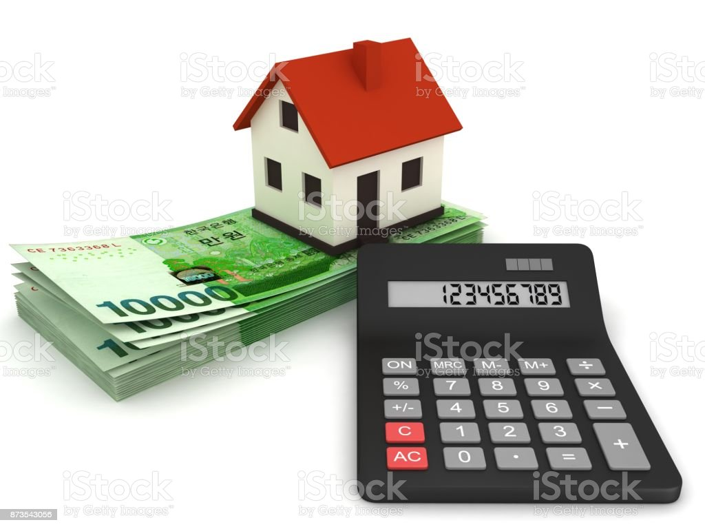 South Korean won money calculator stock photo