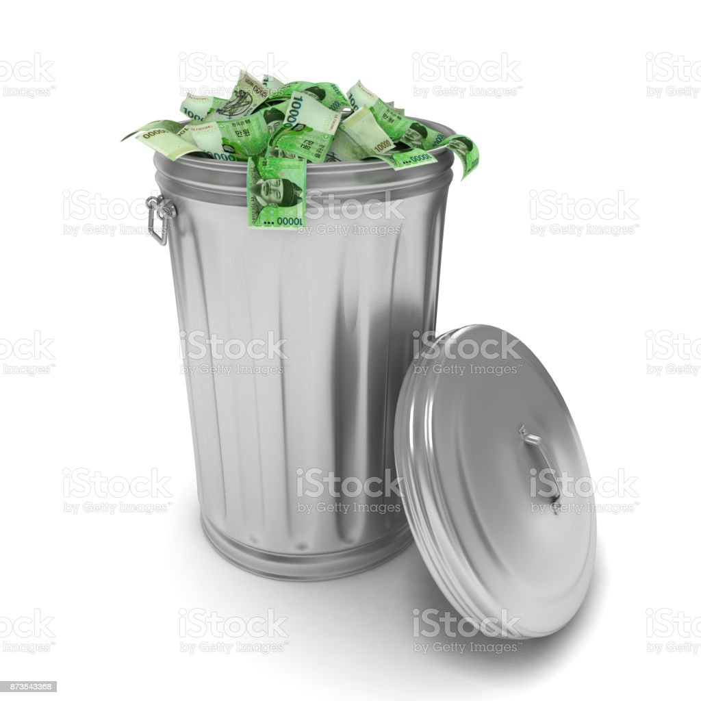 South Korean won money garbage trash stock photo