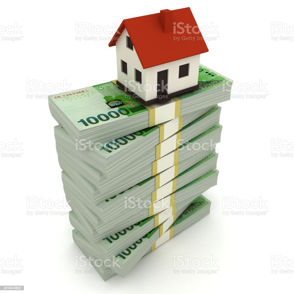 South Korean won money house mortgage real estate stock photo
