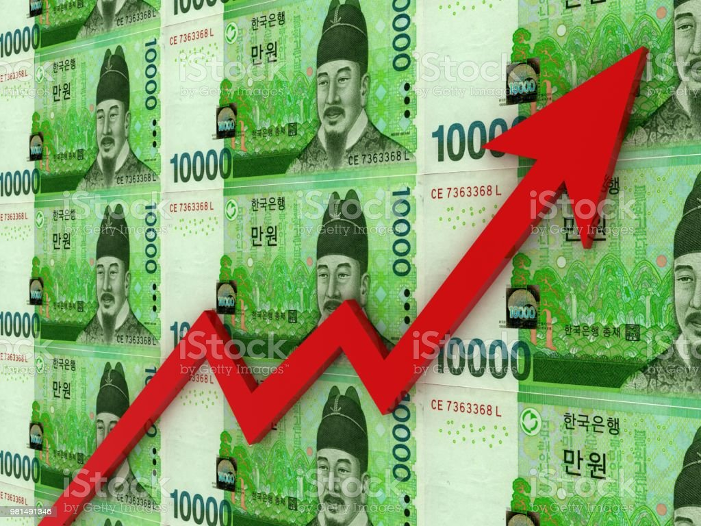 South Korean Won Money Investment Growth Chart Graph Stock Photo