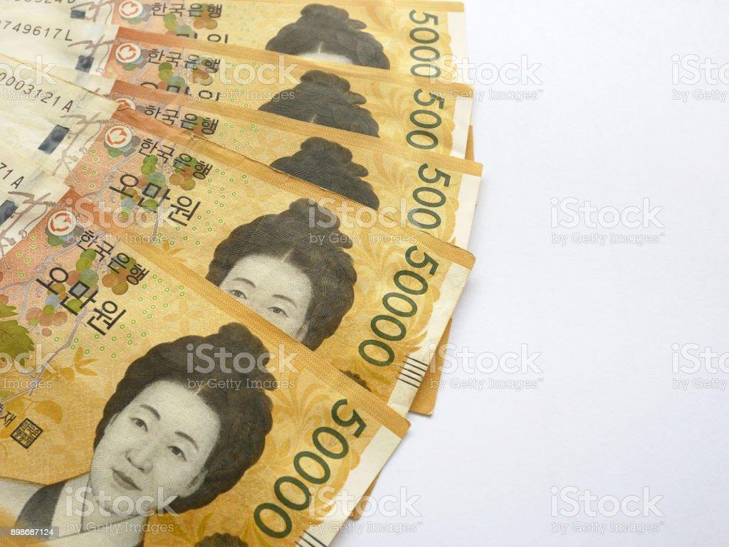 South Korean won money stock photo