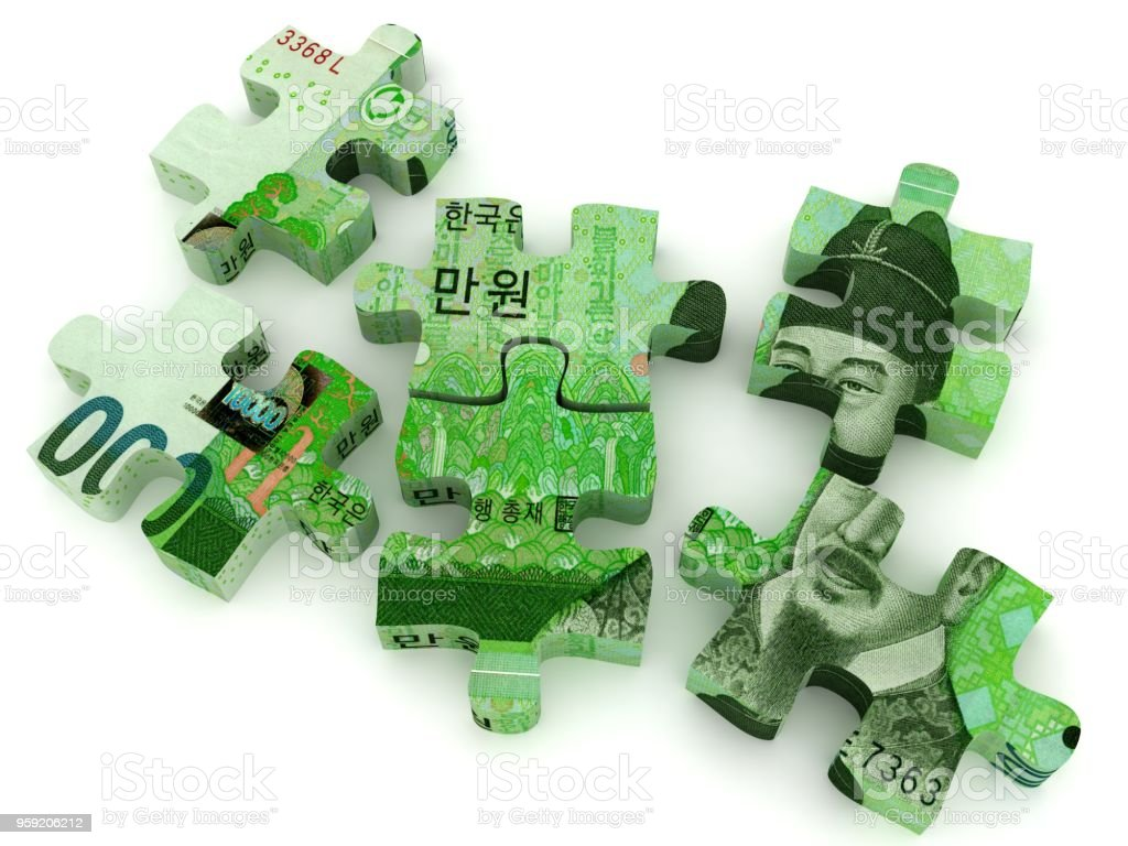 South Korean won money puzzle development stock photo